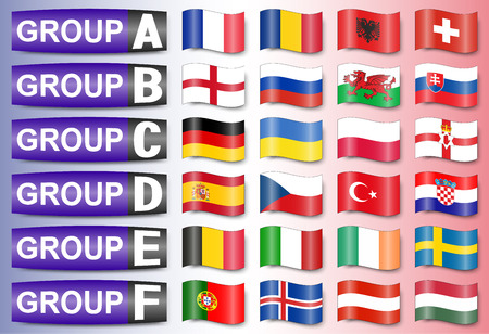 northern spain: flags football championship are divided into groups Illustration