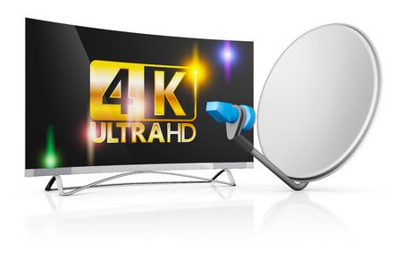modern 4k TV and a satellite dish on a white background Stockfoto