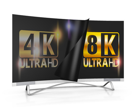 ultra: modern TV with 4k and 8K Ultra HD inscription on the screen