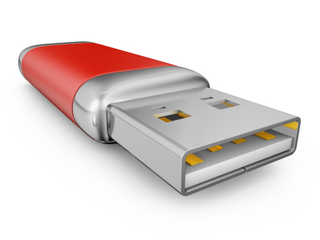 usb drive: usb drive of red color on a white background