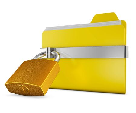 folder lock: Yellow folder and a metal lock on a white background Stock Photo
