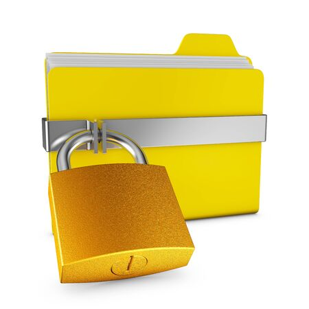 file folder: Yellow folder and a metal lock on a white background Stock Photo
