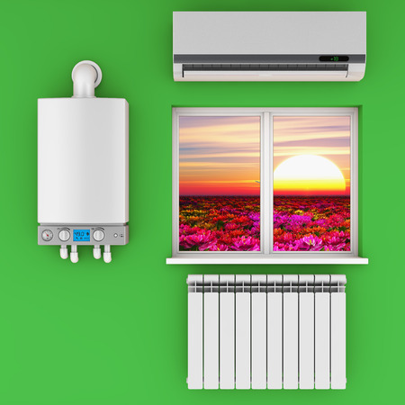 climatic equipment on the wall near a window