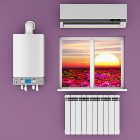 temp: climatic equipment on the wall near a window.3D render.