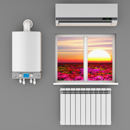 thermodynamic: climatic equipment on the wall near a window.3D render.
