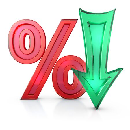 transparent percentages and arrow on a white background, 3d render