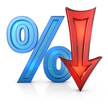 percentages: transparent percentages and arrow on a white background, 3d render