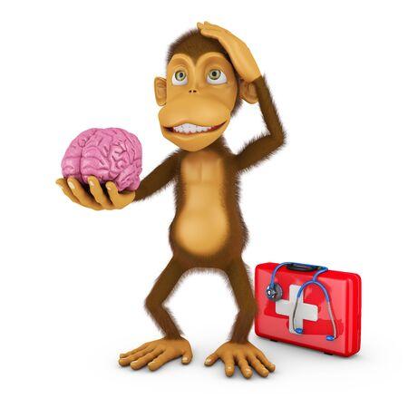 3d render: monkey holding a human brain, 3d render Stock Photo