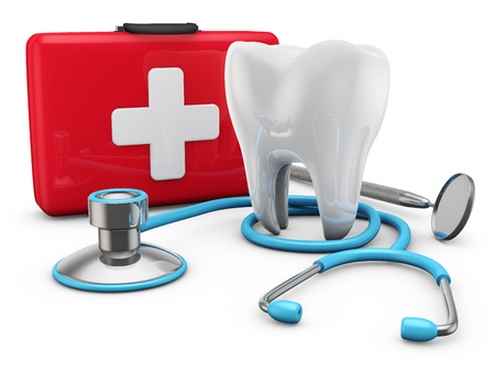 stethoscope on red suitcase and a tooth, 3d render Standard-Bild