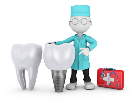 dentist with glasses and a tooth implant, 3d render
