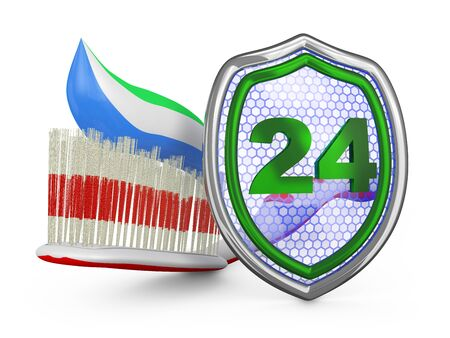 carious cavity: Toothbrush and a shield on a white background. 3D render. Stock Photo