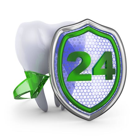 carious cavity: The tooth and shield on white background. 3D render.