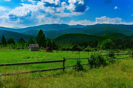 Summer view of the mountains in the Carpathians