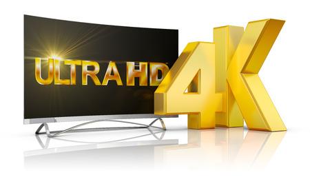 Ultra HD TV and the volume inscription 4k, 3d render. Standard-Bild