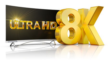 Ultra HD TV and the volume inscription 8k, 3d render. Stock Photo