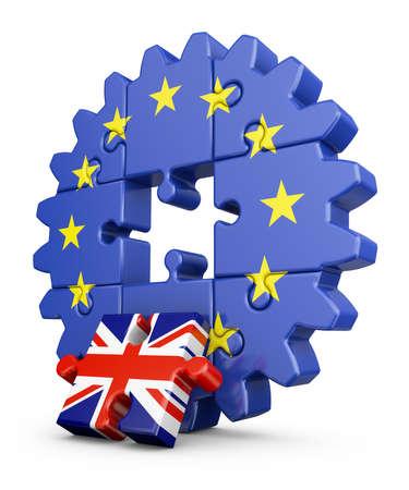 欧州連合および米国の Kingdom.3D レンダリングの旗を持った歯車パズル。