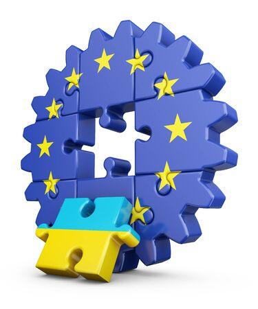 欧州連合および Ukrainian.3D のレンダリングの旗を持った歯車パズル。