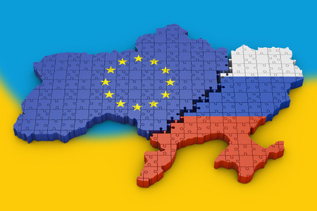 puzzle in the shape of the borders of Ukraine. 3d render.