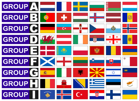qualify: Flags of European qualification group Illustration