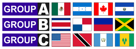 qualify: American flags that participate in the Cup Football. Illustration