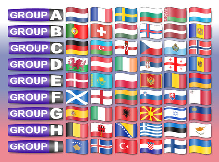 qualify: Flags of the European qualification group  football