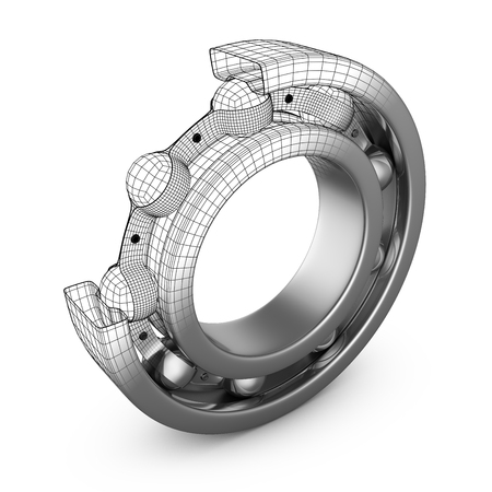 View of ball bearing structures in a cut. 3D render. 版權商用圖片