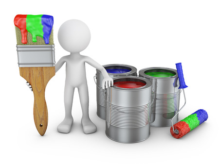 paint cans: A man with a brush and paint cans. 3d render.