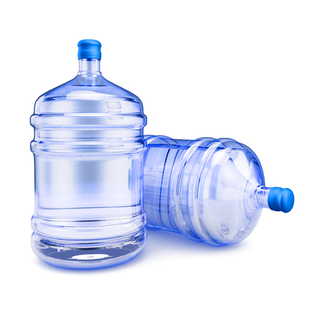 purified water: Two bottles with purified water to drink. 3d render.