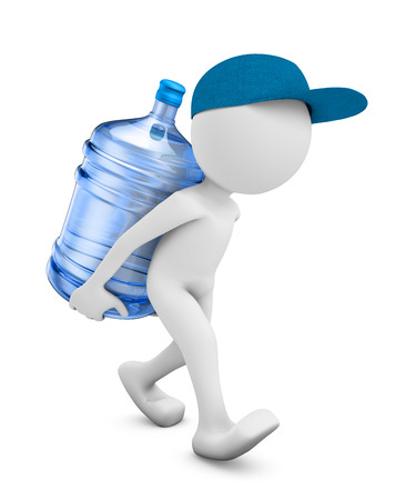 purified water: a man with a bottle of purified water for drinking. 3D render.