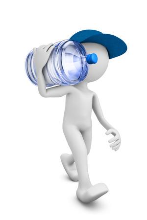 agua purificada: un hombre con una botella de agua purificada para beber. render 3D. Foto de archivo