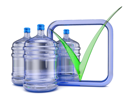 purified: Three bottles with purified water to drink. 3D render. Stock Photo