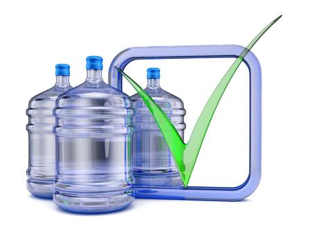 agua purificada: Tres botellas con agua purificada para beber. render 3D.