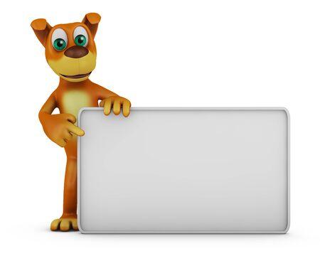 outdoor blank billboard: Cheerful dog near white board. 3D render.