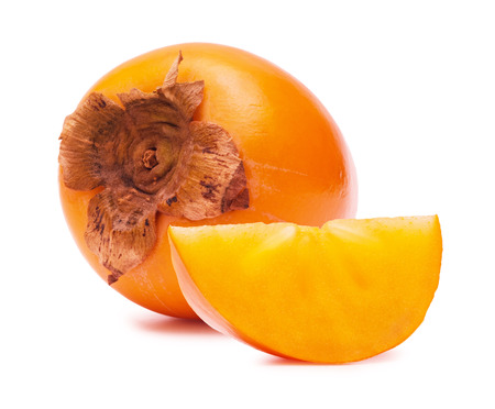 Persimmon close up on a white background