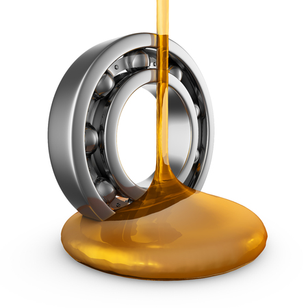 engine oil stream flows to the bearing. 3d render.