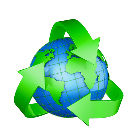 symbols: Recycling sign and a globe on a white background. 3D rendering.
