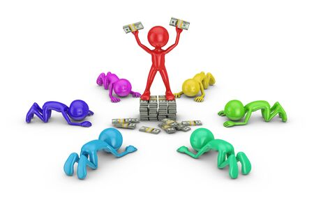 Colored mens praying person on a stack of money. 3d rendering. Stock Photo
