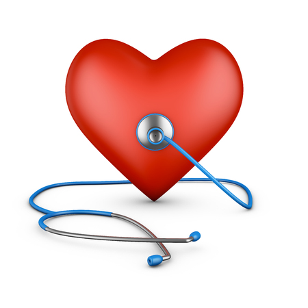 stethascope: Stethoscope and red heart on a white background. 3d rendering.