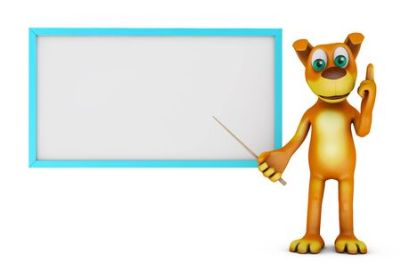 cute dog: Brown dog points on the board. 3d rendering.