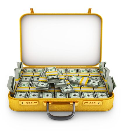 A bundle of dollars inside the suitcase. 3d rendering. Stock Photo