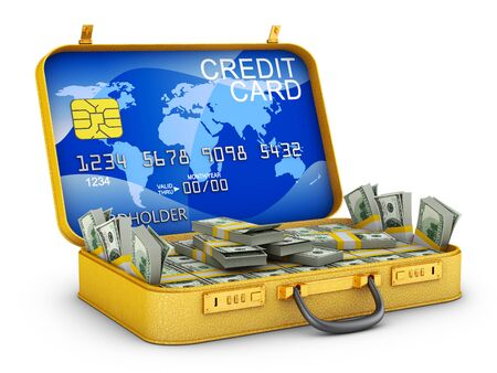 A bundle of dollars and a bank card inside the suitcase. 3d rendering.