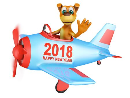 dog: Dog waves his hand in the plane with the inscription Happy New Year 2018. 3D render.