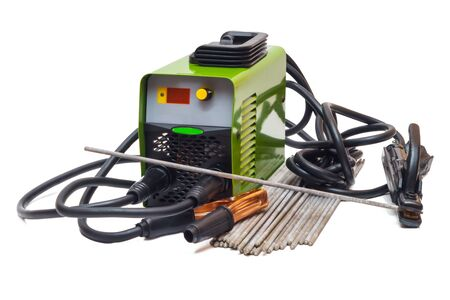 Welding machine and electrodes on a white background