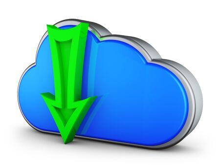 A blue cloud and a green arrow. 3d rendering.