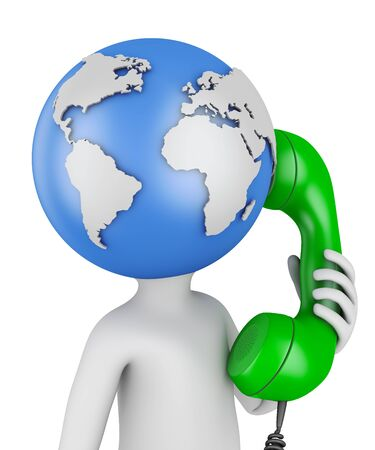 world receiver: Man with globe head with the handset. 3d rendering.