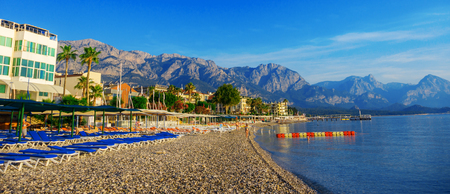 tans: View of the coastline in the town of Kemer in Turkey. Stock Photo