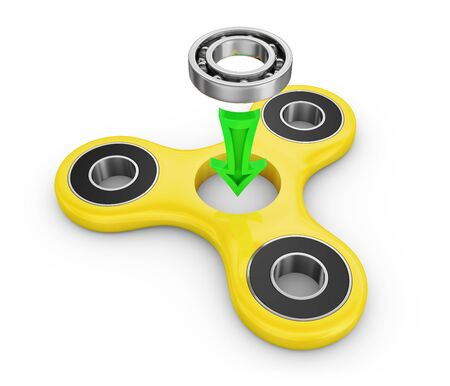 Spinner yellow and ball bearing. 3d rendering.