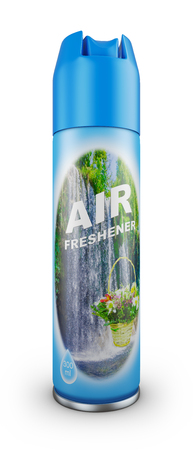 Air freshener in a blue bottle. 3d rendering.
