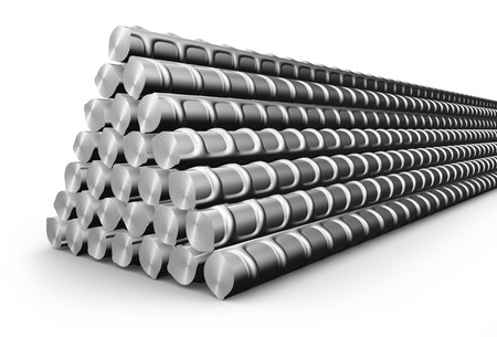 heavy industry: A pile of building steel reinforcement. 3d rendering.