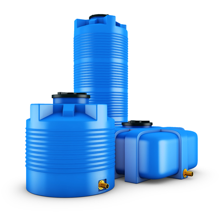 Containers for water of different shapes. 3d rendering.